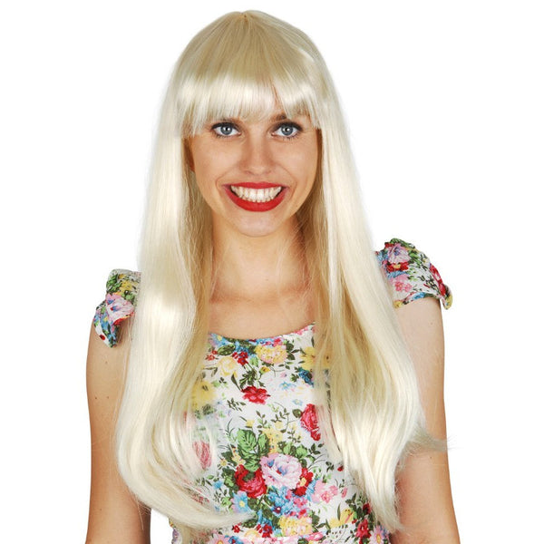 Long Straight Wig with Fringe-Blonde
