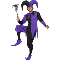 Medieval Jester Adult Black & Purple Costume