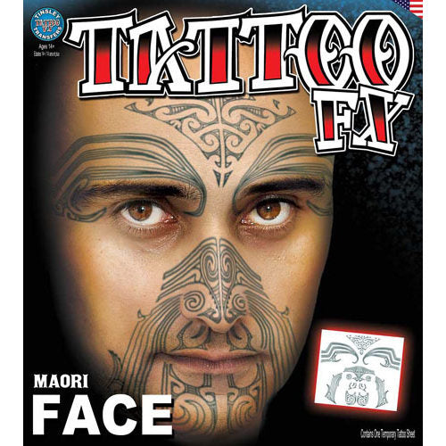 Tinsley FX Full Face Temp Tattoo - Maori Face