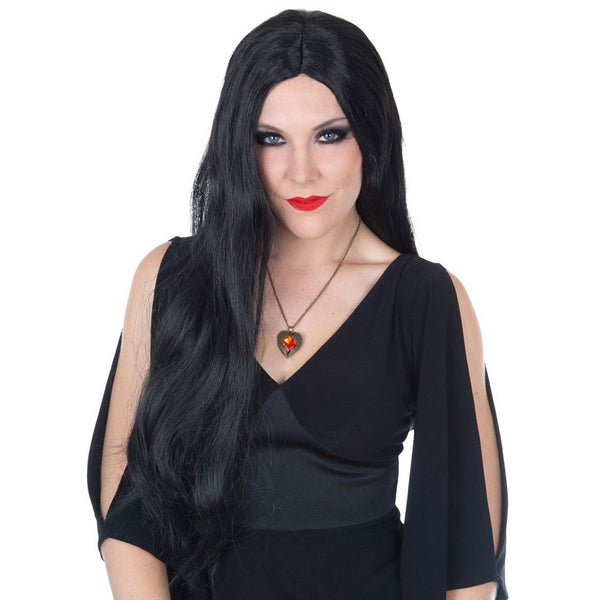 Morticia Long Black Wig
