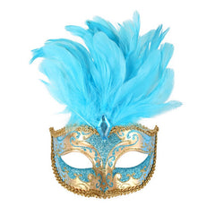Isabella Blue Feather Mask