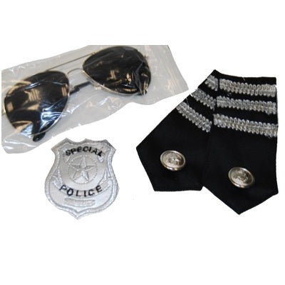 Police Kit includes Badge, Glasses & Epaulettes