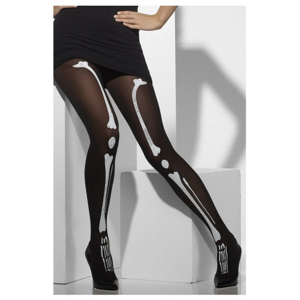 Black Skeleton Print Opaque Tights