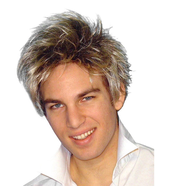 Wig-Spunky Guy 80s Short Blonde Shag