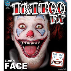 Tinsley FX Full Face Temp Tattoo - Clown Face