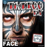 Tinsley FX Full Face Temp Tattoo - Tribal Zebra Face