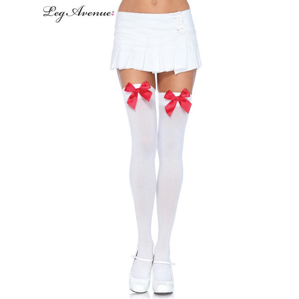 White Thigh Highs with Red Bow