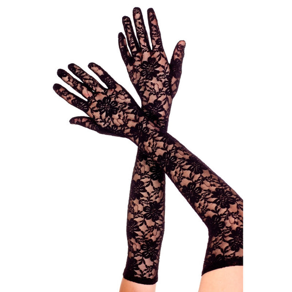 Black Lace Gloves - Extra Long