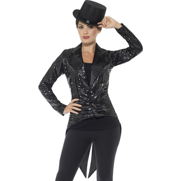 Black Sequin Tailcoat Jacket