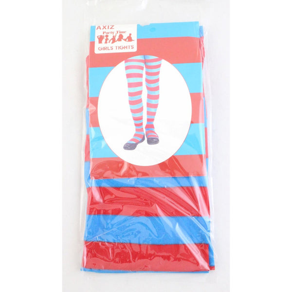 Blue & Red Striped Stockings - Girls