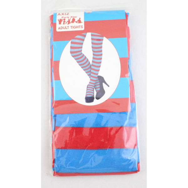Blue & Red Striped Stockings Thigh High - Ladies
