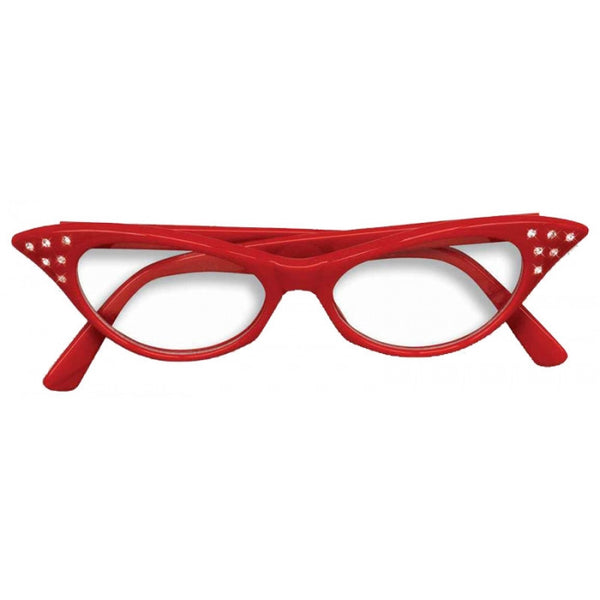 50s Rhinestone Glasses - Red
