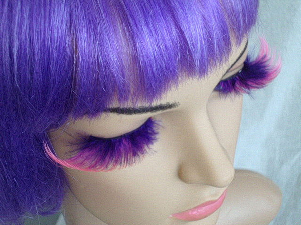 Purple Lashes with Pink Feathers