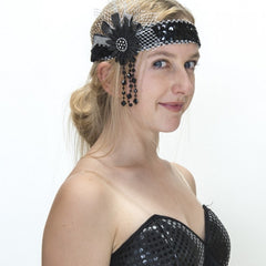 Flapper Headband with Flower - Black/Silver