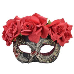 Dia Eye Mask with Red Flowers