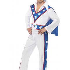 Evel Knievel Jumpsuit and Cape Red White and Blue