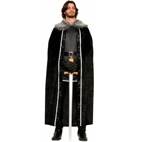 Cape with Faux Fur Trim-Black