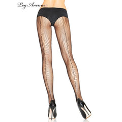 Black Fishnet Pantyhose with Back Seam - Leg Avenue