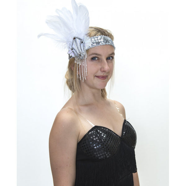 Flapper Headband White and Silver