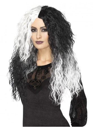 Halloween Crimped Glam Black and White Witch Wig