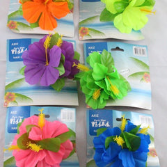 Hibiscus Flower on Hair Clip - Assorted Colours