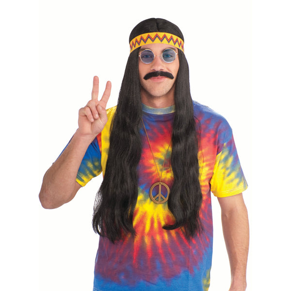 Hippie Dude Wig with Headband - Black