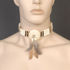 Indian Bone Choker with Feathers