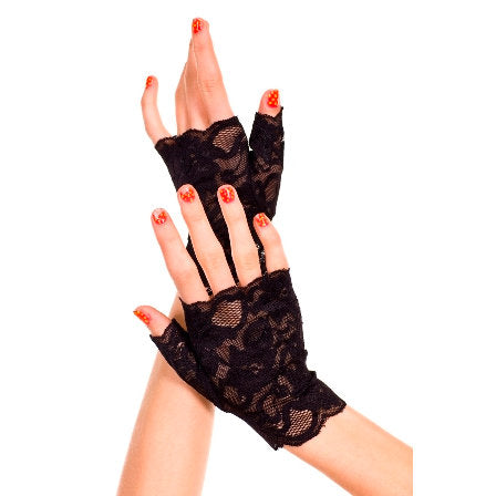 Lace Fingerless Black Gloves