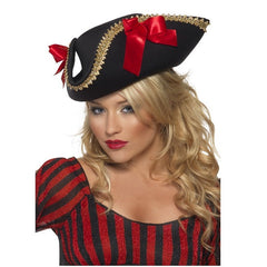 Ladies Pirate Hat with Red Ribbons