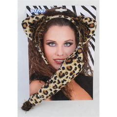 Leopard Ears Headband with Tail
