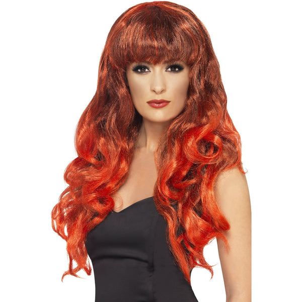 Long Curly Red and Black Wig with Fringe