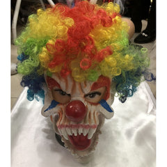 Scary Clown Mask with Coloured Curly Hair
