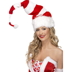 Striped Santa Hat in Red & White