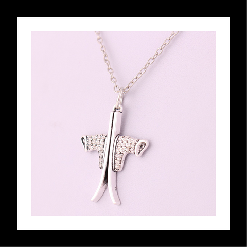 Sliver-plated Ski and Ski Boots Charm Link Chain Necklace