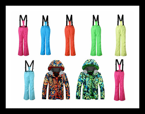Windproof and waterproof combo Children's Ski Jacket and Pants