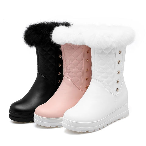 Soft Leather Platform Ankle High Snow / Winter Boots