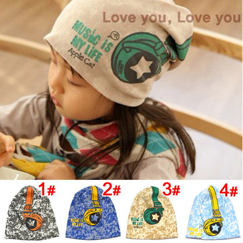 All-season Sanded Cotton Headphone Printed Beanie for Baby / Kid / Infant