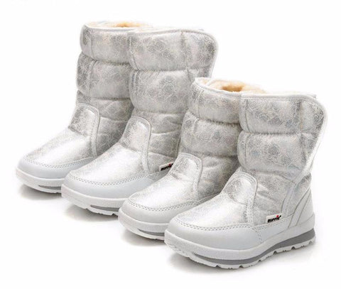 Silver Rose Print Women's Waterproof Snow Boots Filled with Fur