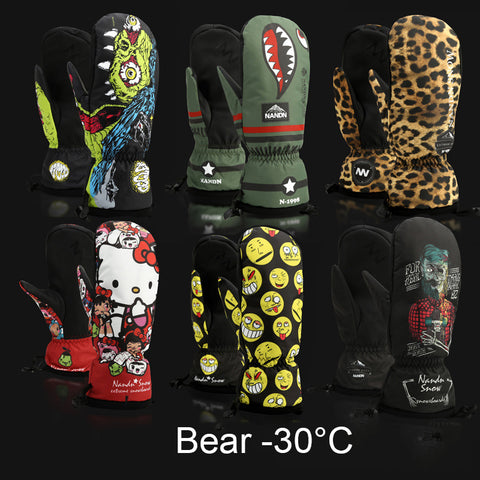 Cartoon-themed Winter Thermal Ski and Snowboard Mittens