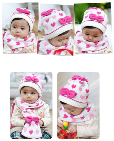 Two-in-one Baby Girl Knitted Beanie and Scarf combo for Spring & Autumn