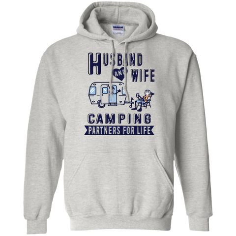 Husband and Wife Camping Partners For Life Pullover Hoodie 8 oz