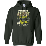 Proud US Army Soldier Sister Military Hero Gun Gift  Pullover Hoodie 8 oz
