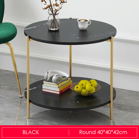 Marble Print Gold Metal Contemporary Round Coffee Table