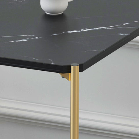 Marble Print Gold Metal Contemporary Square Coffee Table
