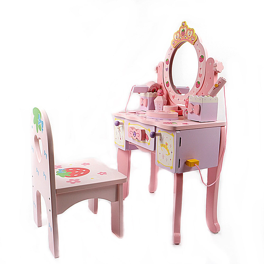 Mother Garden Wooden Strawberry Tiara Dresser Playset With Chair