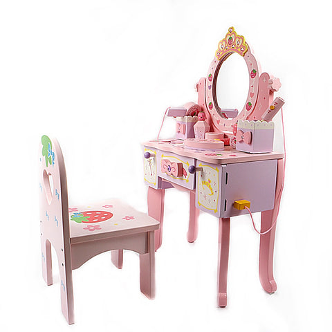 Wooden Strawberry Tiara Dresser Playset With Chair