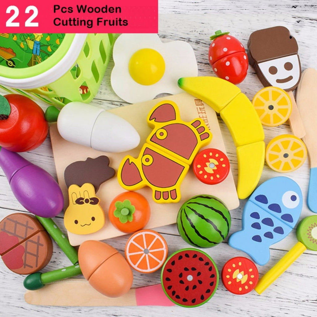 Wooden Cutting Fruit 22 Pieces Set