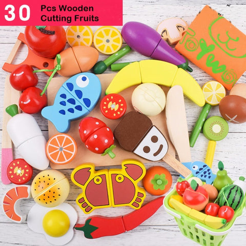Wooden Cutting Fruit 30 Pieces Set