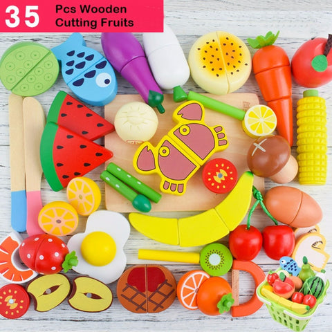 Wooden Cutting Fruit Set 35 Pcs