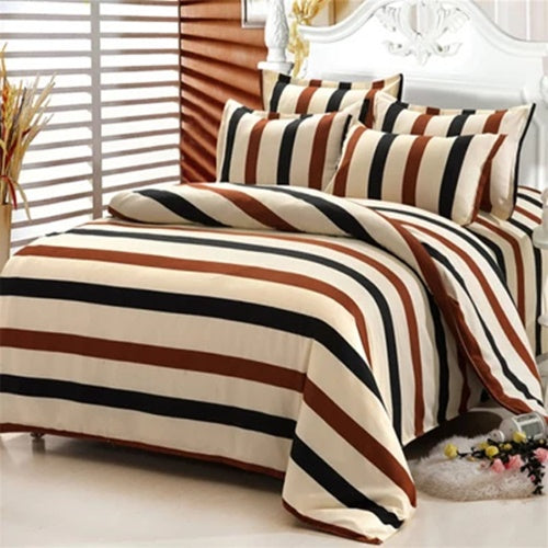 Brown Stripes Cotton 360° Fitted Bedsheet 4 Pcs Set